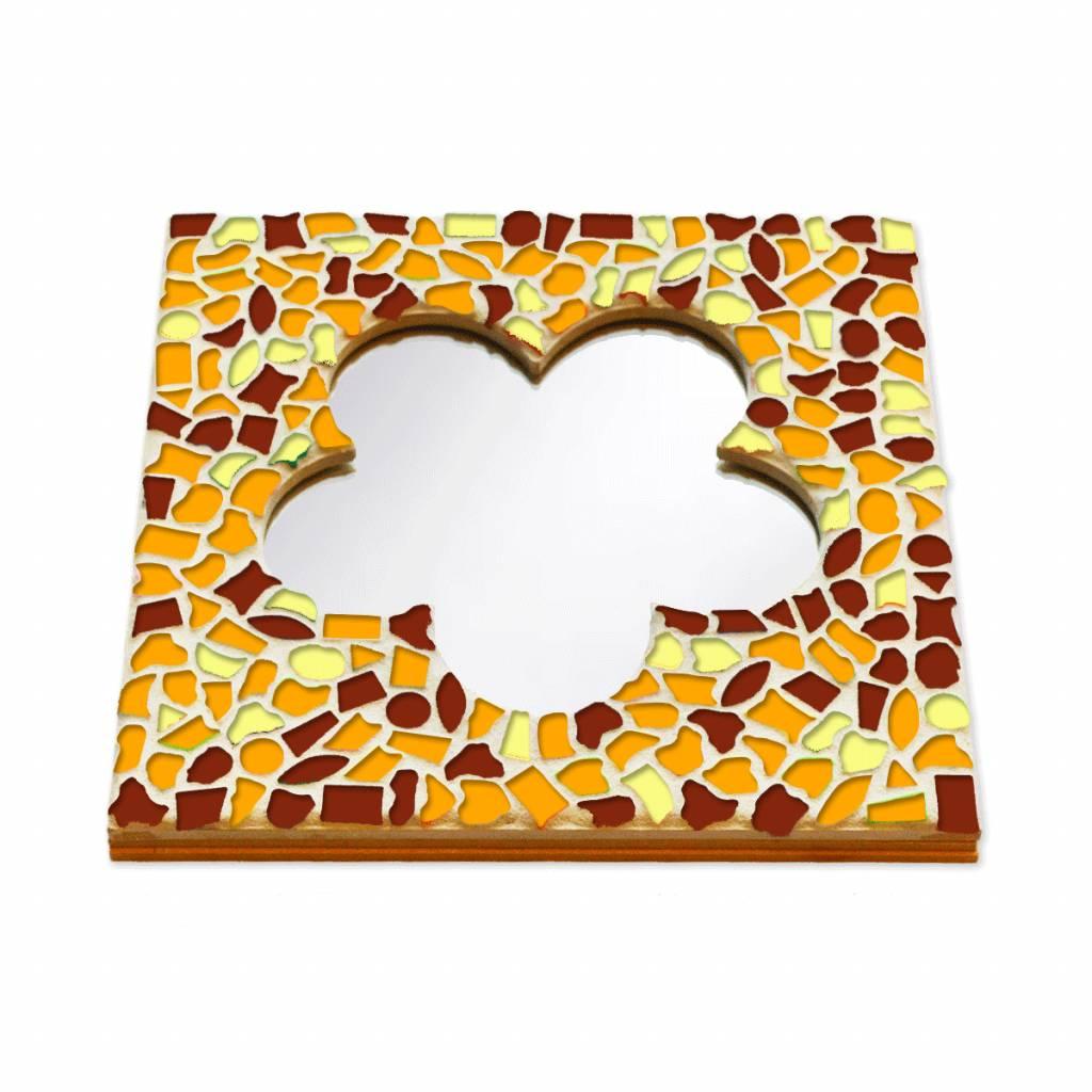 Cristallo Mozaiek pakket Spiegel DeLuxe Bloem Bruin-Oranje-Geel