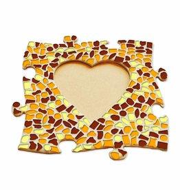 Mozaiek pakket Fotolijst Hart Bruin-Oranje-Geel
