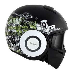 SHARK Raw Kubrik helm Matt Zwart Wit Groen