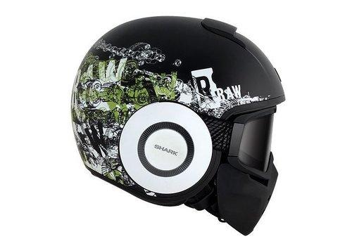 Shark Raw Kubrik helmet Matt Black White green