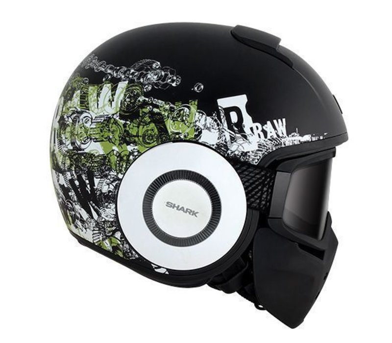 Raw Kubrik casco negro matt blanco verde