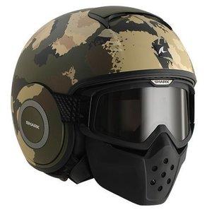 SHARK Raw Kurtz helmet Matt Green Ecru Black