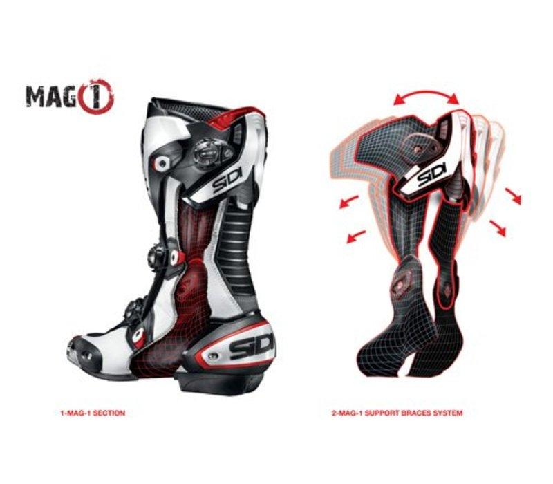 Mag-1 Motorlaarzen Wit Zwart AIR (geventileerd)