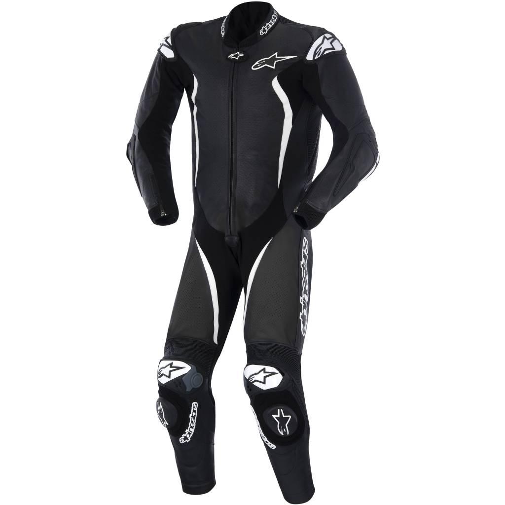 alpinestars gp tech one piece racing suit black white. Black Bedroom Furniture Sets. Home Design Ideas