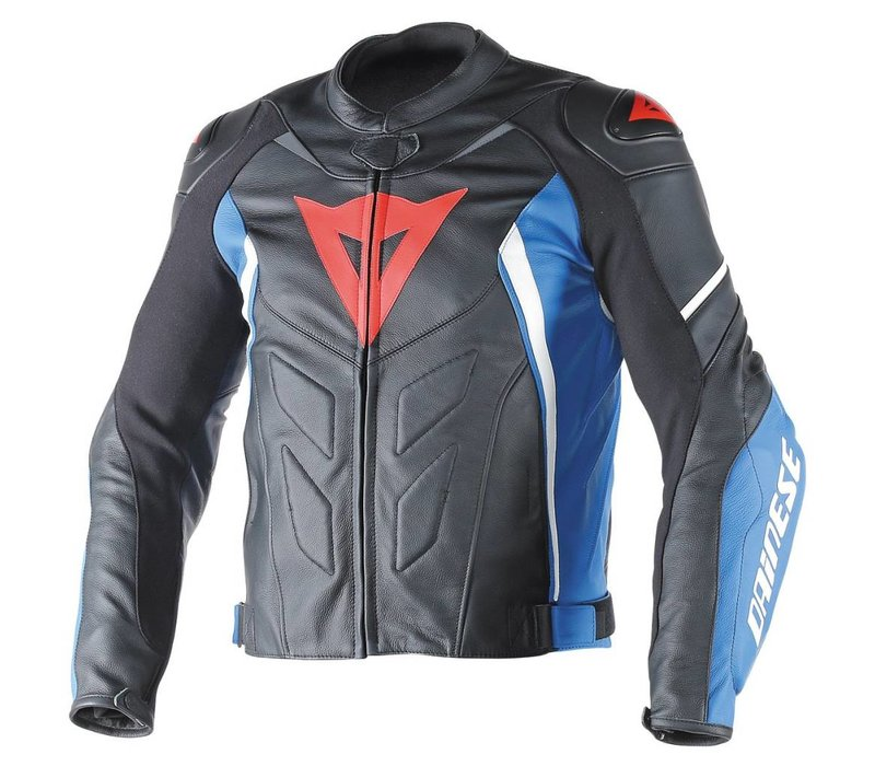 Avro D1 leather Jacket - Black Blue White