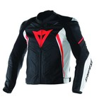 Dainese Avro D1 leather Jacket - Black White Red Fluo