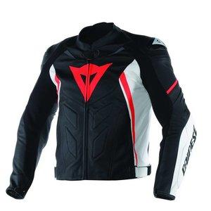 Dainese Avro D1 Pelle jaqueta - Preto Branco Vermelho Fluo