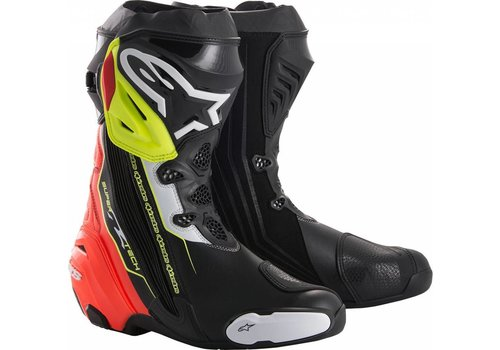 Alpinestars Alpinestars SUPERTECH-R Motorcycle Boots Black Red Yellow Fluo