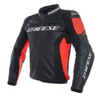 Dainese Racing 3 Leather Jacket - Black Fluo Red