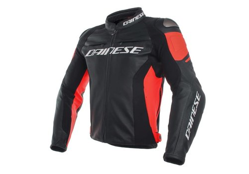 Dainese Online Shop Racing 3 Leather Jacket - Black Fluo Red