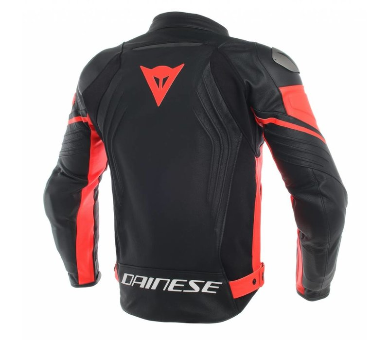 Racing 3 Leather Jacket - Black Fluo Red