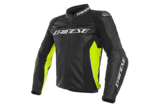 Dainese Online Shop Racing 3 Leather Jacket - Black Fluo Yellow