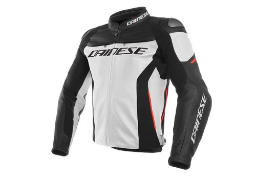 Dainese Racing 3 Leren Motorjas - Wit Zwart Rood