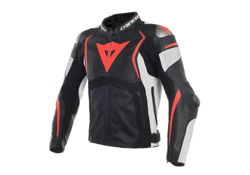 Dainese Online Shop Dainese Mugello Leather Jacket  Black White Fluo-Red