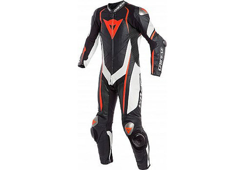 Dainese Online Shop Dainese Kyalami 1-PC Perforated 1-delig Motorpak Zwart Wit Fluo Rood