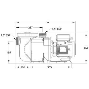 "Sta-rite Zwembadpomp 1 1/2"" binnendraad 230V type Supermax S5P1RE-1 1pk"