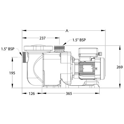 "Sta-rite Zwembadpomp 1 1/2"" binnendraad 230V type Supermax S5P1RD-1 0,75pk"