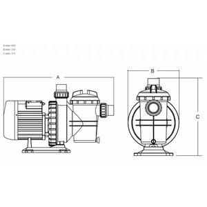 "Mega Zwembadpomp 50 mm / 1 1/2"" metrisch/imperial lijmmof 2,2A 230V type SC050"