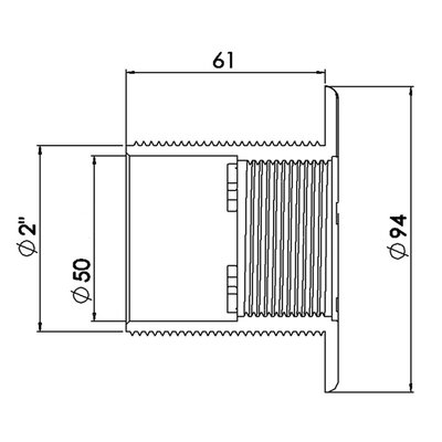 """Inlaatbevestiging ABS 2"""" buitendraad wit type voor beton baden"""