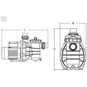 "Hydro-S Zwembadpomp 50 mm / 1 1/2"" metrisch/imperial lijmmof 1,9A 230V type SS033 met RCD stekker"