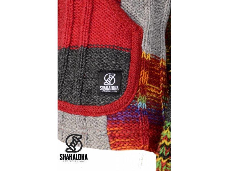 Shakaloha Rib Patchwork Multi Colored Wollen Dames Vest Nepal