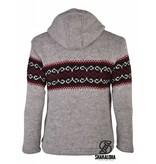 Shakaloha Flaka Wollen Vest Grijs met zwart en rood breipatroon op borst en rug