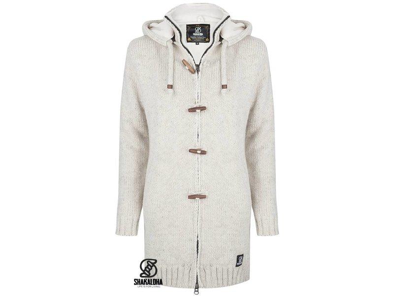 Shakaloha Woodcord Jacket Beige Gebreid Lang schapenwollen damesvest met fleece voering