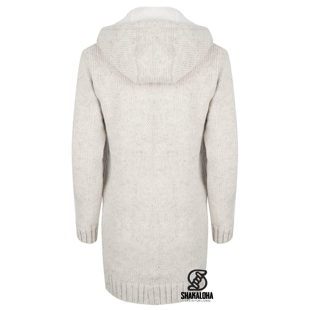 Shakaloha Woodcord Jacket Beige Gebreid Lang schapenwollen damesvest met  fleece voering ...