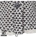 Shakaloha Coogar Zwart Creme lang wollen dames vest met creme witte voering