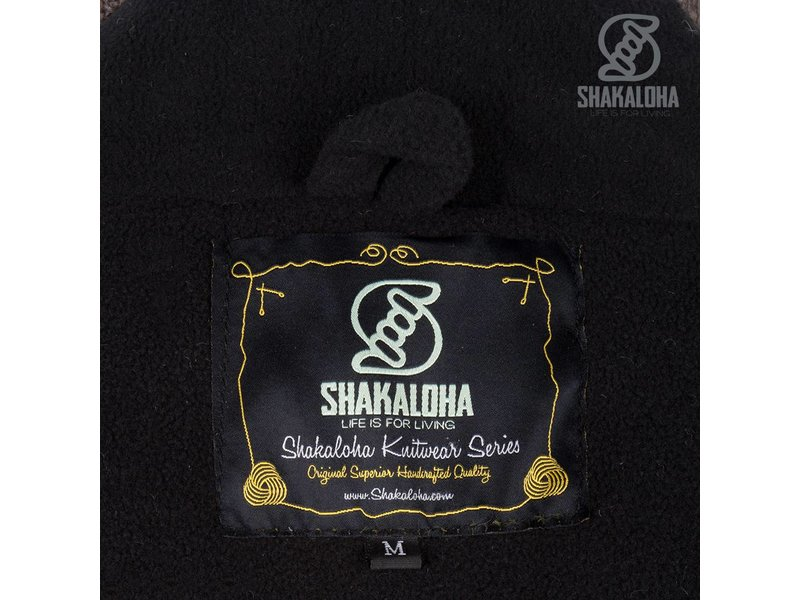 Shakaloha Fleece gevoerd gebreid wollen vest met schuine banen in beige, donker bruin en lichtbruin