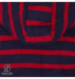 Shakaloha gestreept dames wollen vest met bretonse streep rood en blauw