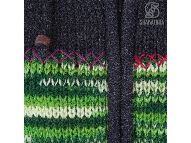 Shakaloha Antraciet Multi Dames Multicolor gebreid wollen vest met bonte banen