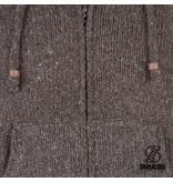Shakaloha Flash Ziphood Effen Bruin Gebreid Mannenvest met fleece binnenvoering