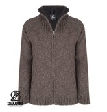 Shakaloha Shakaloha Gebreid Wollen Vest met fleece voering en hoge kraag van donkerbruine schapenwol