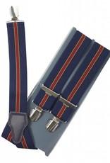 Blauw met rode bretels