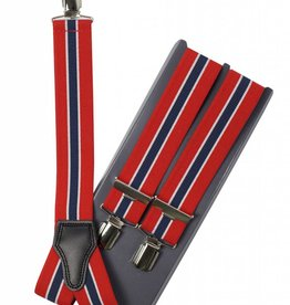 Bretels, rood, blauwe streep, breed (36mm)
