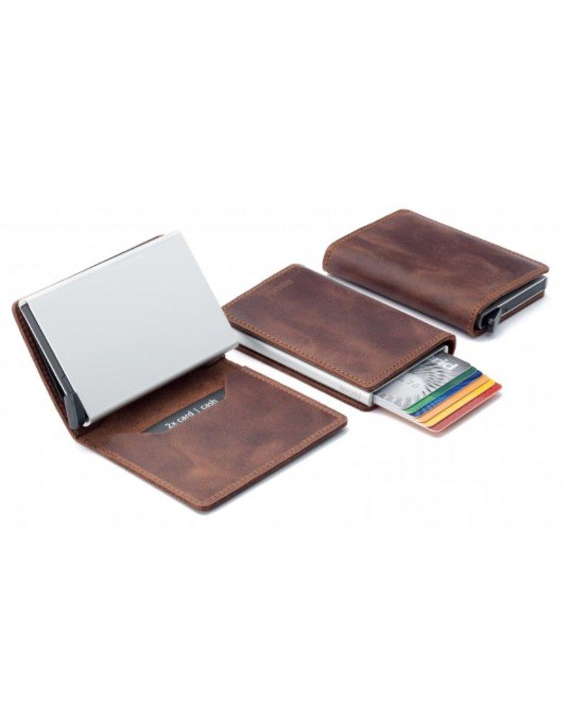 Secrid Slim Wallet Vintage Bruin Leren Uitschuifbare Pasjeshouder