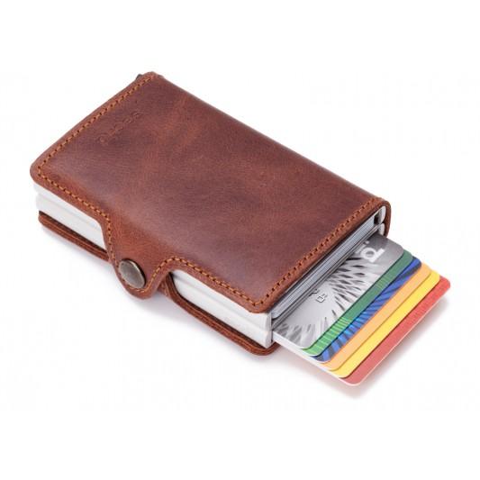 Secrid Secrid Twin Wallet Card Protector Vintage bruin leren uitschuifbare pasjes bescherming portemonnee