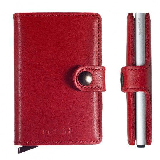 Secrid Secrid Mini Wallet Card Protector leren uitschijfbare pasjeshouder rood