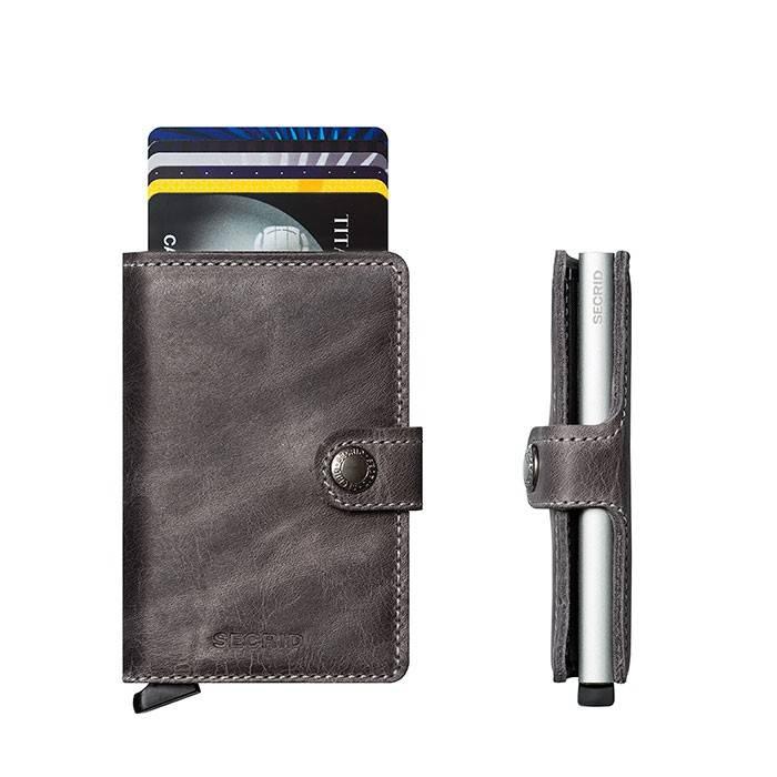 Secrid Secrid Mini Wallet Card Protector Vintage Grey leren uitschuifbare pasjeshouder bescherming