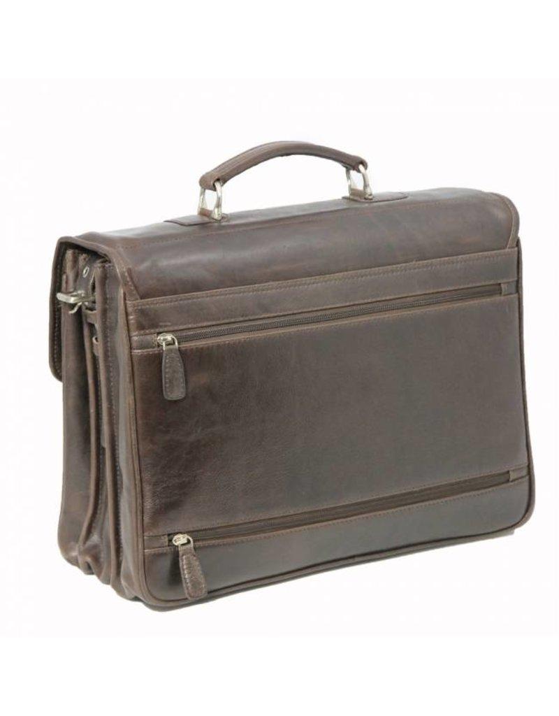 """Plevier Plevier Traditioneel gelooid leer 3-vaks donkerbruin 15.6"""" laptoptas 723-2 businesstas"""