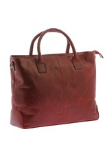 "Plevier Plevier Traditioneel gelooid leer 2-vaks dames laptoptas 15.6"" rood 721-5"