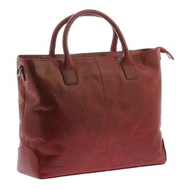 "Plevier Plevier Traditioneel gelooid leer 2-vaks dames laptoptas 15.6"" rood"