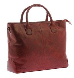"""Plevier Plevier Traditioneel gelooid leer 2-vaks dames laptoptas 15.6"""" rood"""