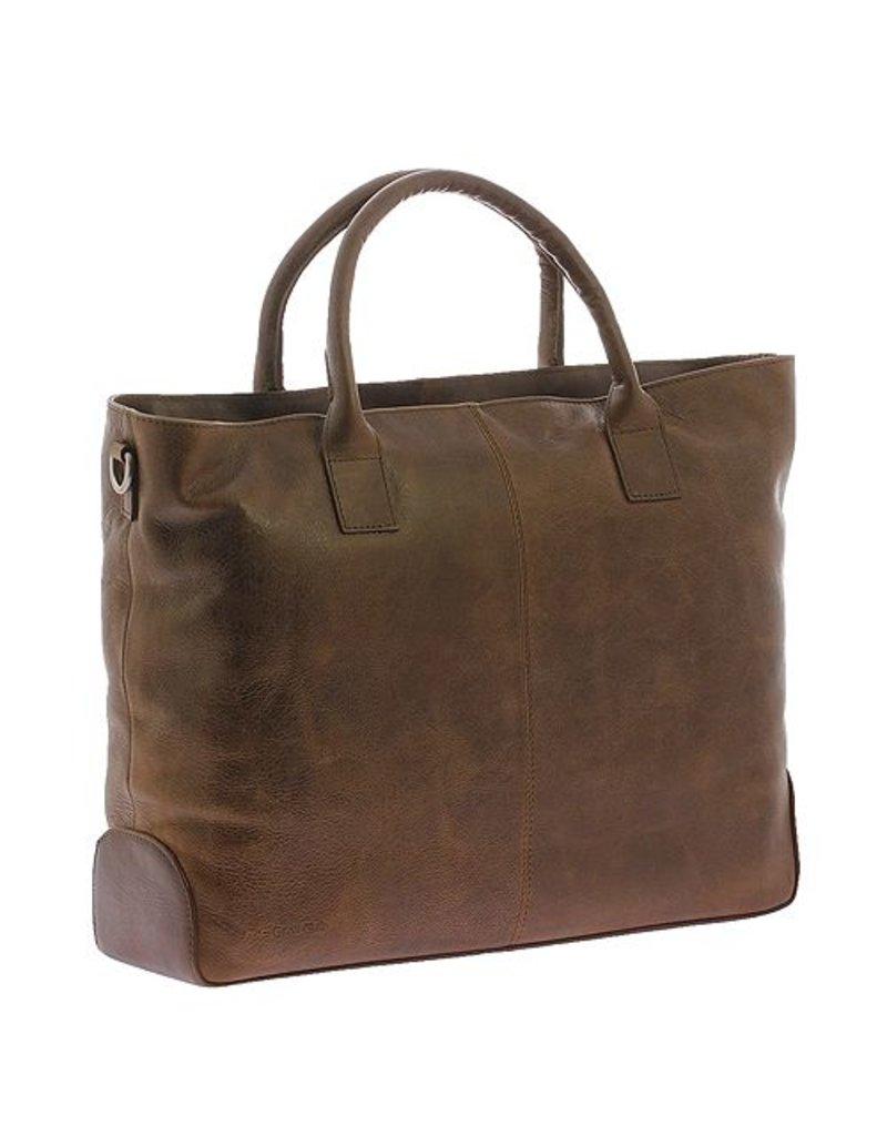 """Plevier Plevier Traditioneel gelooid leer 2-vaks dames laptoptas 15.6"""" cognac 721-3"""