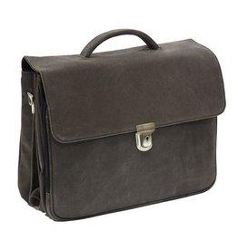 """Plevier Plevier Vintage leer 3-vaks 15.6"""" laptoptas businesstas grijs"""