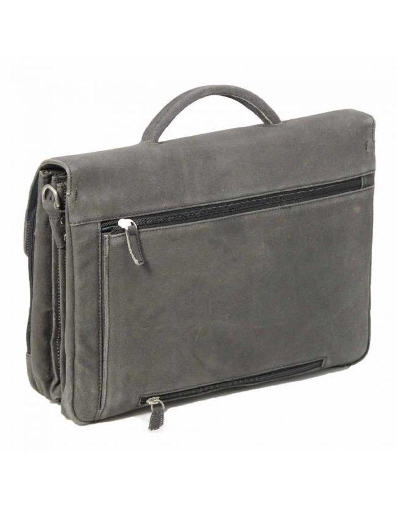 """Plevier Plevier Vintage leer 3-vaks 15.6"""" laptoptas businesstas grijs 33-1"""