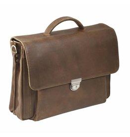 "Plevier Plevier Vintage geolied leer 2-vaks 17.3"" laptoptas businesstas cognac"