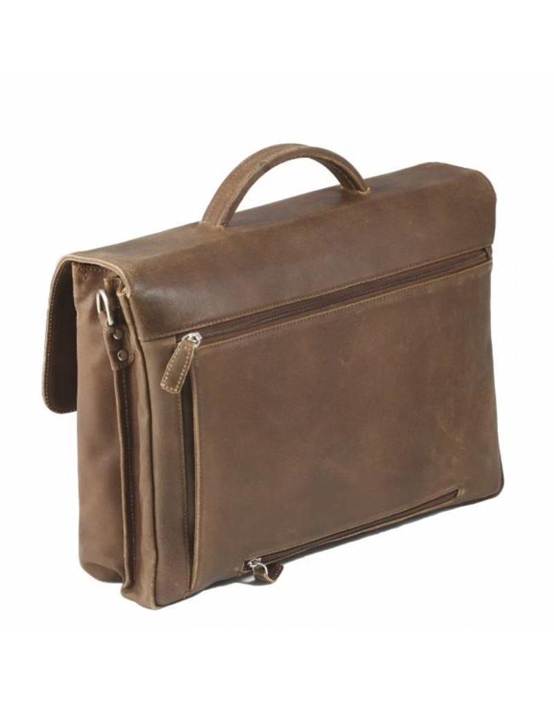 "Plevier Plevier Vintage geolied leer 2-vaks 17.3"" laptoptas businesstas cognac 24-3"