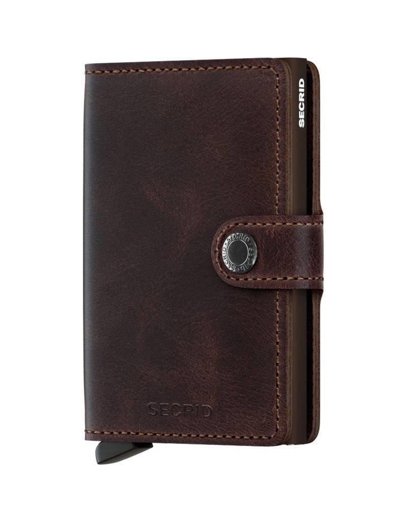 Secrid Secrid Mini Wallet Card Protector Vintage Chocolate leren uitschuifbare pasjeshouder